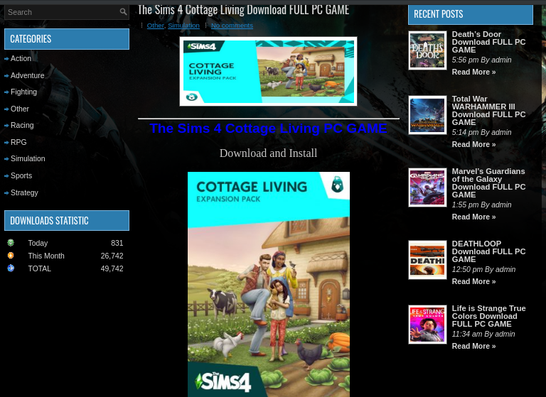A phishing page is offering a fake copy of The Sims 4 Cottage Living