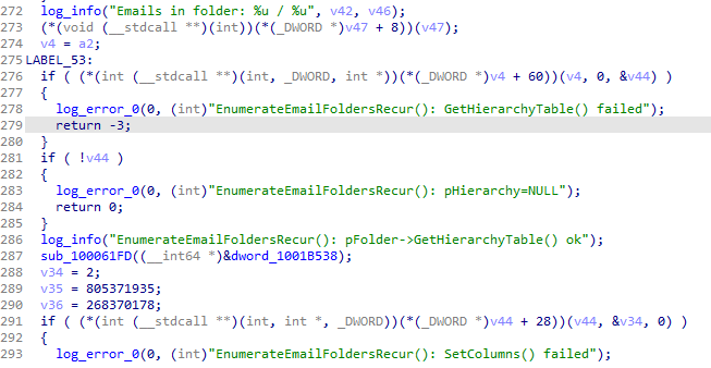 The threat actors distributed a debug version of the email collector module at some point