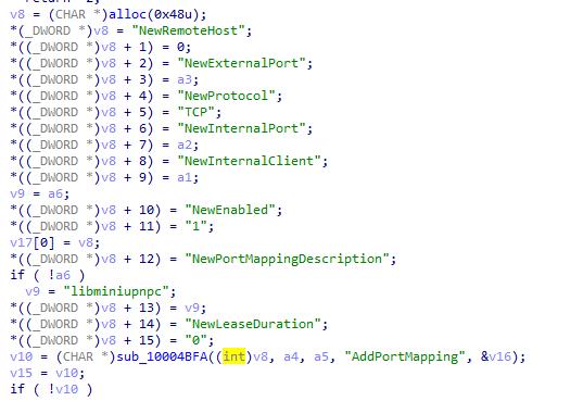 UPnP port forwarding query construction
