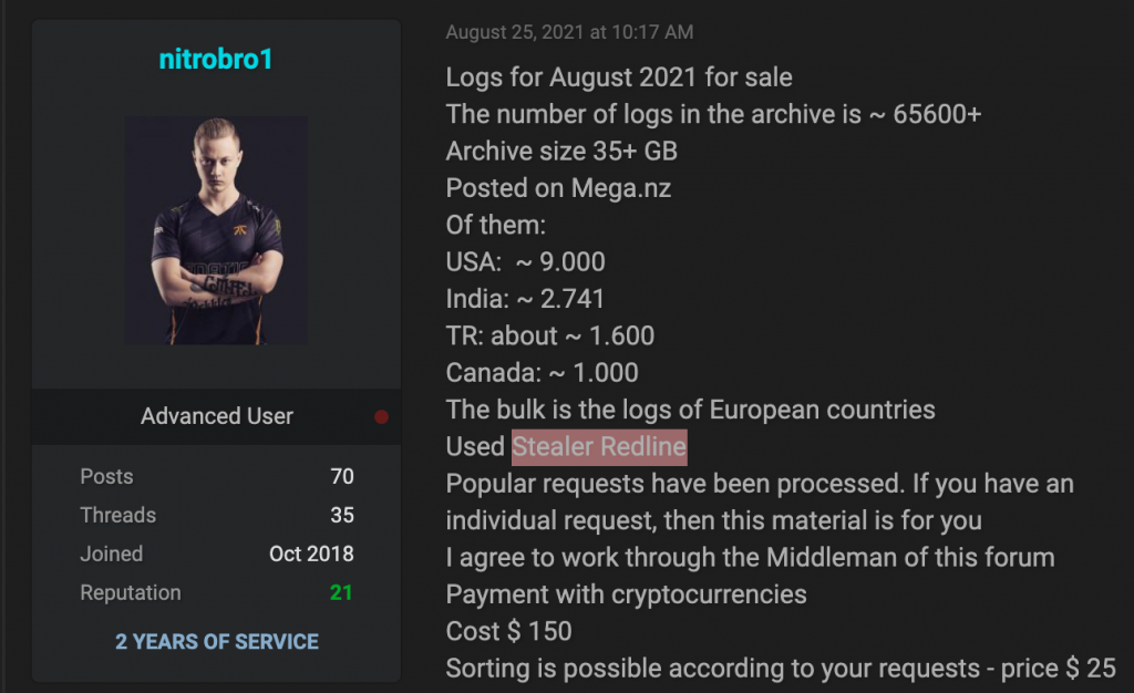 In these examples, cybercriminals offer logs: an archive containing more than 65,000 logs for 150$ and packages with 1,000 private logs for 300$