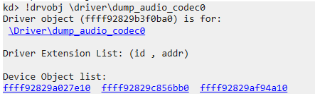 Driver object name listed in WinDBG