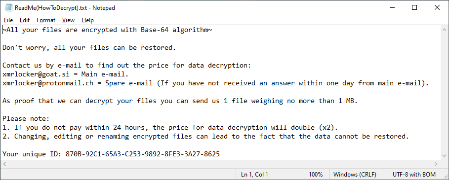 Note left by the ransomware