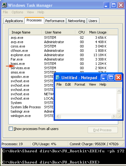Рис. 4. Список процессов после запуска rootkit.