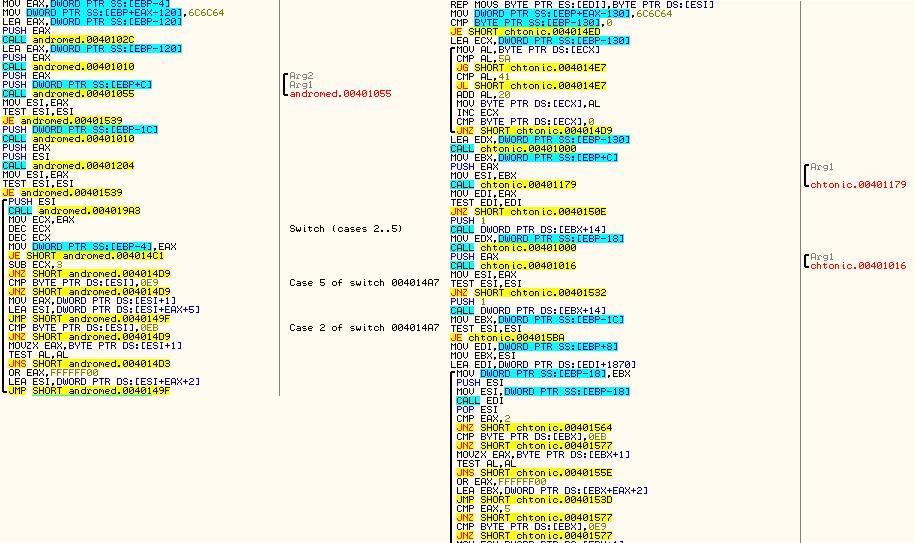 Часть кода функции настройки импорта в Andromeda и Chthonic