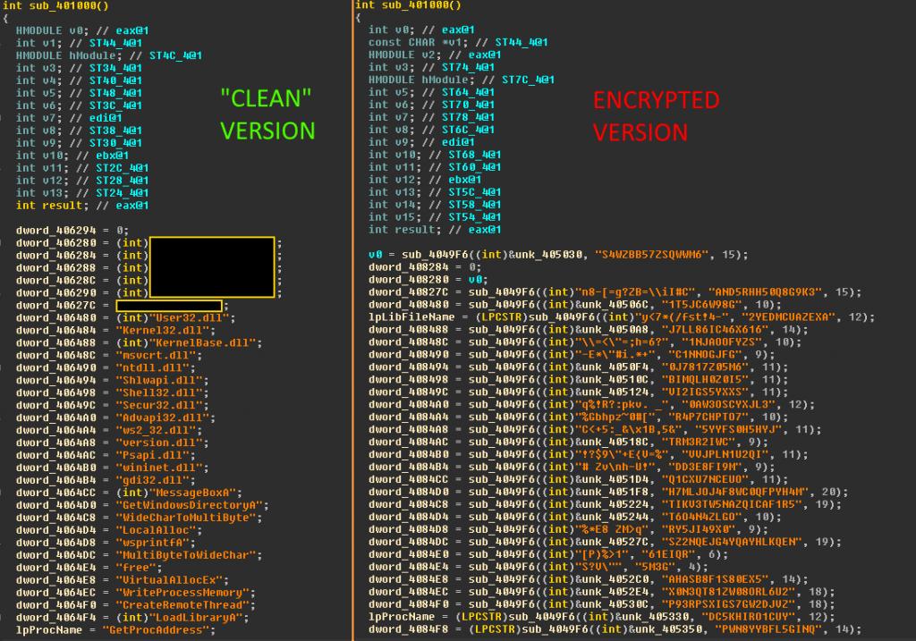 Сравнение процедуры инициализации строк в версиях с шифрованием и без