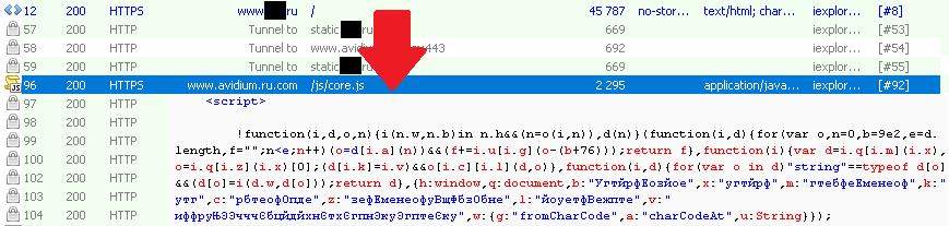 Внедренный вредоносный код на зараженном веб-сайте