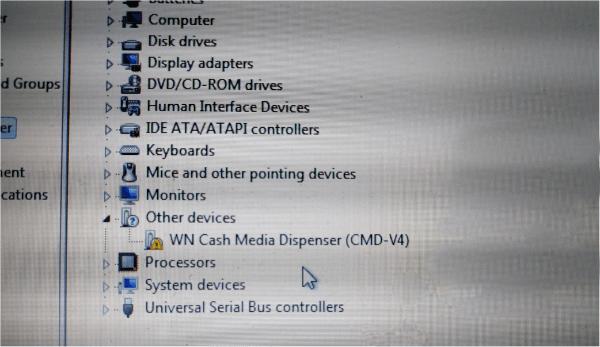 Диспенсер банкомата подключен к компьютеру без необходимых драйверов
