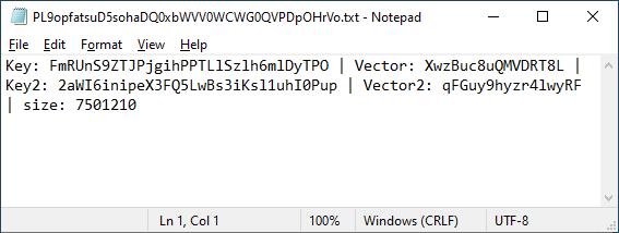Файл с ключами, оставляемый шифровальщиком