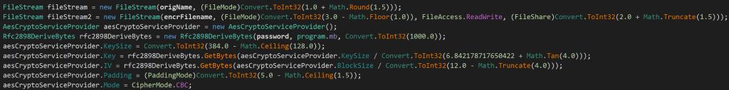 Один из блоков кода, используемый для шифрования
