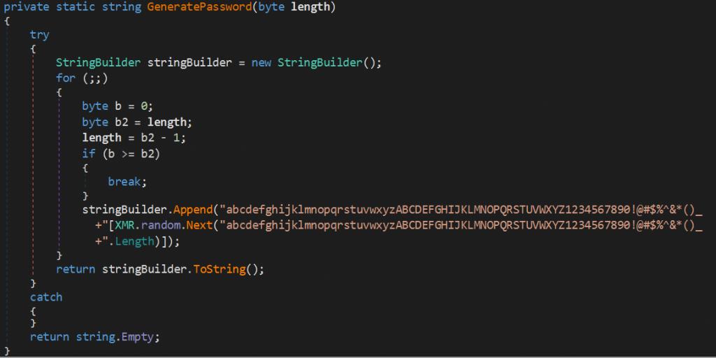 Генерация пароля в XMRLocker