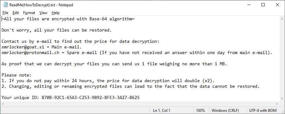 Записка, оставленная шифровальщиком