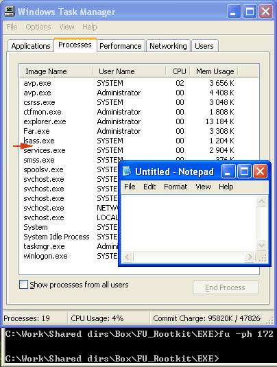 Abb.4  Liste der Prozesse nach dem             Rootkit-Start