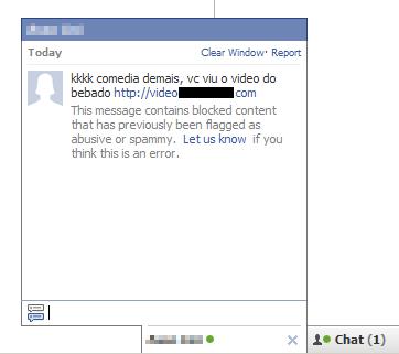 El contenido del archivo es un mensaje escrito en portugués que dirige a un  dominio malicioso. El mensaje se envía a otros usuarios de Facebook por chat