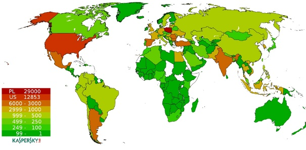 Countries with new Hlux/Kelihos infections