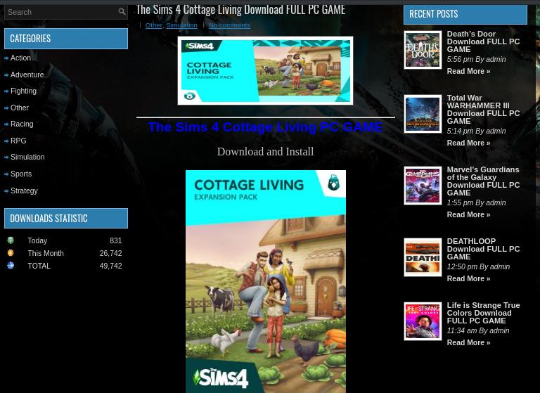 Página de phishing que ofrece una versión falsa del juego Sims 4 Cottage Living