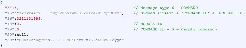 'COMMAND', respuesta del servidor de control y comando con un comando vacío