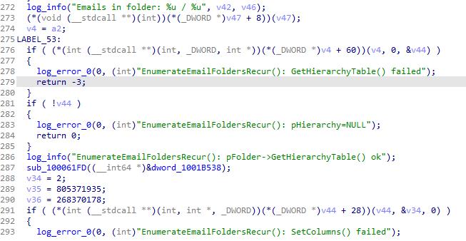 Los actores de la amenaza distribuyeron en algún momento la versión de depuración del módulo recolector de correo electrónico