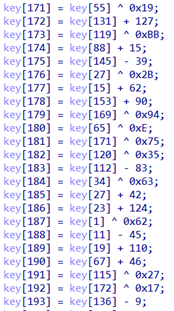 Un fragmento de la función de generación de claves RC4