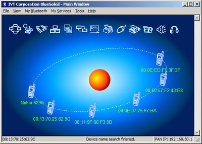 Fenêtre du logiciel BlueSoleil en mode balayage