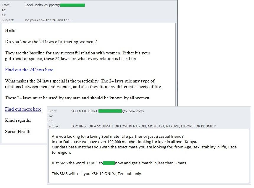courrier indésirable de sites de rencontre