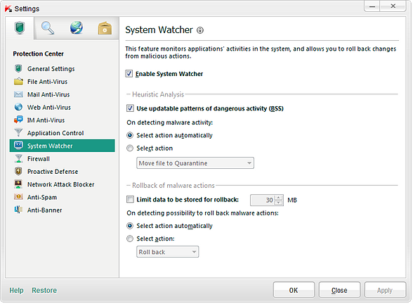 Kaspersky Labs System Watcher