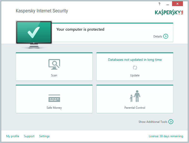 Kaspersky Internet Security 2015 - Main Window