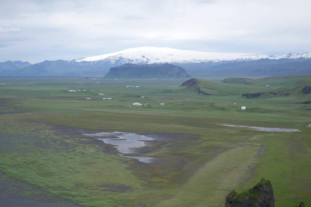 View on Eyjafjallajökull from Dyrholaey cliffs, Iceland