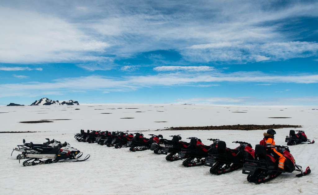 There are two highland tracks in Langjökull, but we used none of them. We drove snowmobiles!