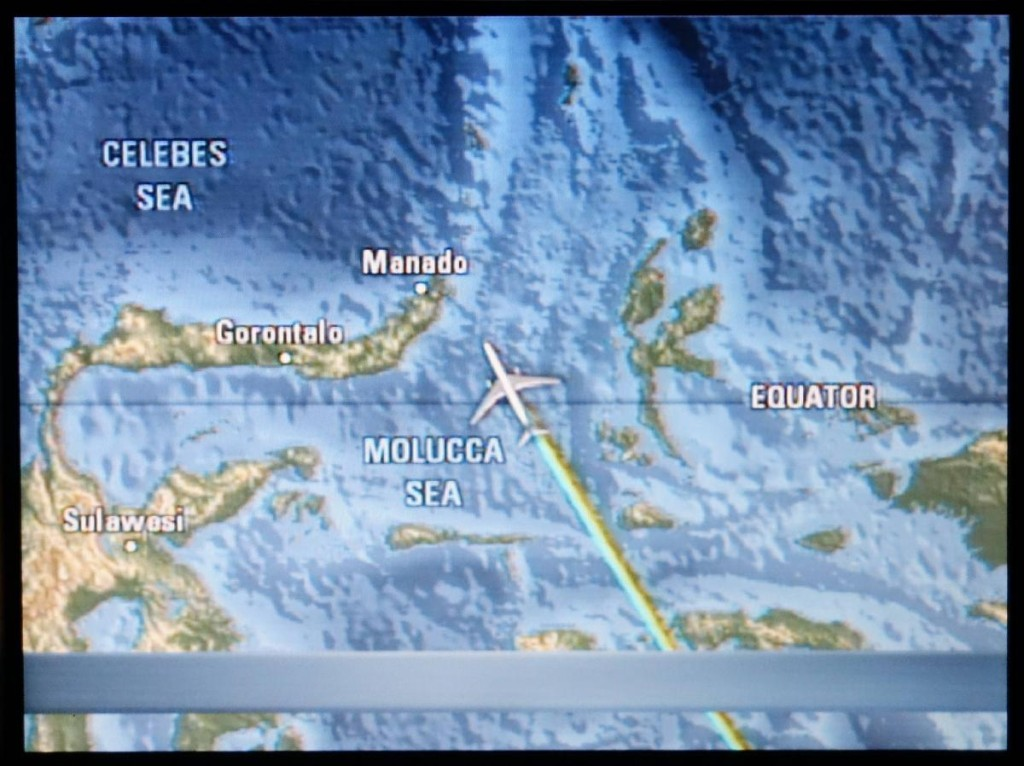 Our flight crossing the Equator