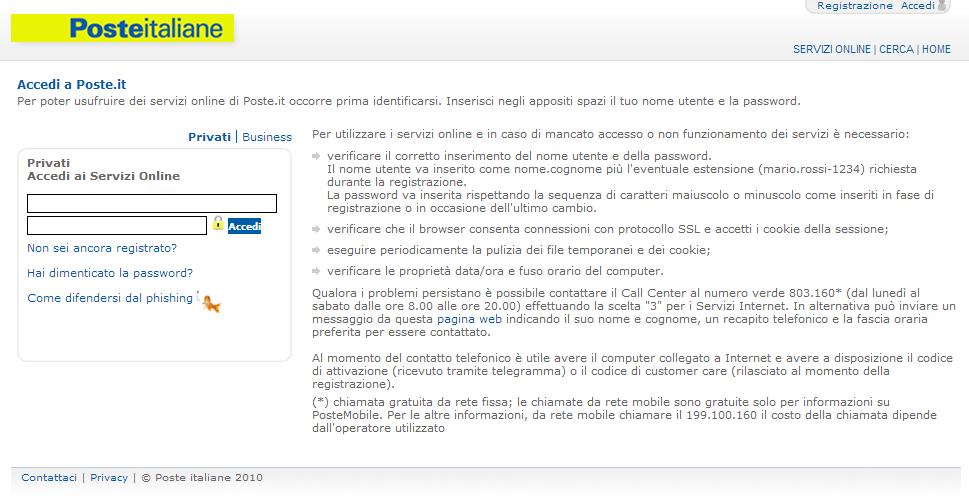 Attacchi di phishing nei confronti dei clienti di Poste Italiane